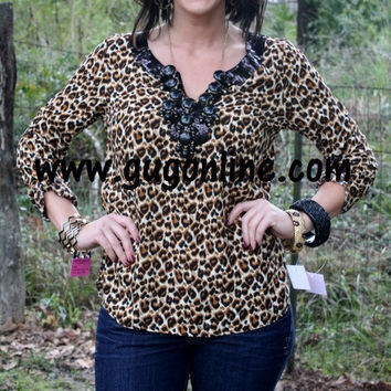 Get Your Fashion Fix Cheetah with Sequins Top