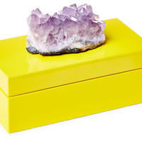 Yellow Lacquer Box w/ Amethyst, Medium, Boxes