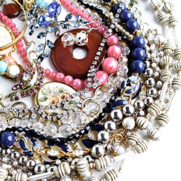 Lot of Vintage Costume Jewelry - Brooches, Necklaces, Bracelets, Earrings / 1 Pound 6 Ounces Intact Destash Lot