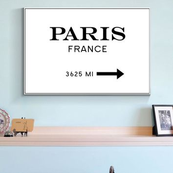 Paris France Marfa Poster Canvas Art Painting Wall Art