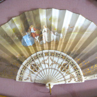 Henri Luna antique fan, silk fan, signed 19th century french hand fan, Henri Luna hand fan, shadow box fan, remarkable condition, gold trim