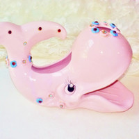 Pink Porcelain Whale Soap Dish Rhinestone Eyes & Flowers Vintage Nautical Collectible Fish Figure Bath Accessories Home Decor Housewarming