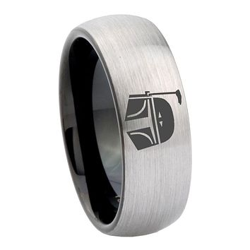 10mm Star Wars Boba Fett Sci Fi Science Dome Tungsten Silver Black Engagment Ring