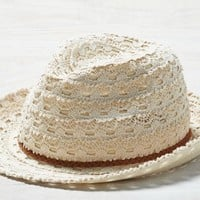 AEO Women's Crochet Lace Fedora (Chalk)