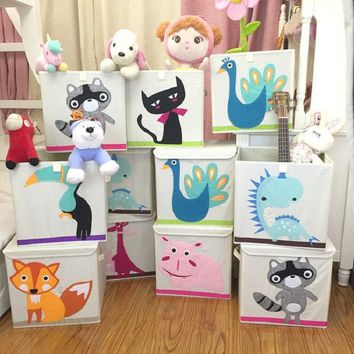 3D Embroider Cartoon Animal Folding Large Storage Box for kid Toys Sorting organizer box clothes book home storage bin organise