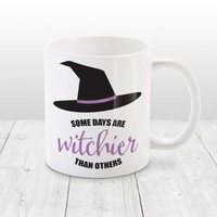 Halloween Witch Mug - Some Days are Witchier Than Others, Witch Hat with Purple - 11oz or 15oz - Made to Order