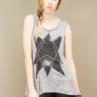 washed grey sleeveless t-shirt with a seven-point black star print | shopcuffs.com