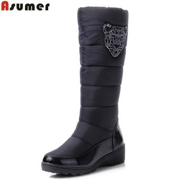 ASUMER 2017 Cotton fashion waterproof snow boots women's knee high boots flat winter b