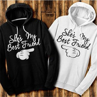 Fashion Best Friends Hoodies Print Hooded Tops Women's Fashion Casual Hoodies Top [8833405068]