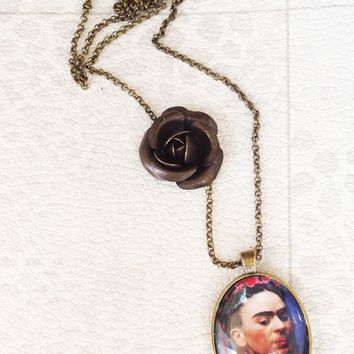 Frida Kahlo Necklace Bronzed Painted Frida Kahlo Pendant jewelry Glass Cabochon