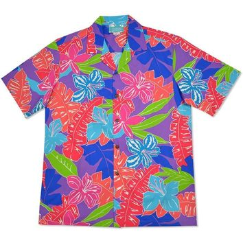 aloha spirit purple hawaiian cotton shirt