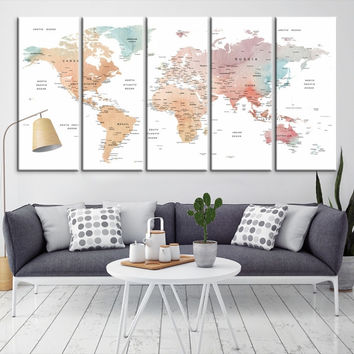 15615 - Large Wall Art World Map Canvas Print- Custom World Map Push Pin Wall Art- Custom World Map Canvas Poster Print- Personalized Wall Art