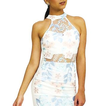 Happy Easter Flowers Embroidered Mock Neck Mini Bodycon Dress
