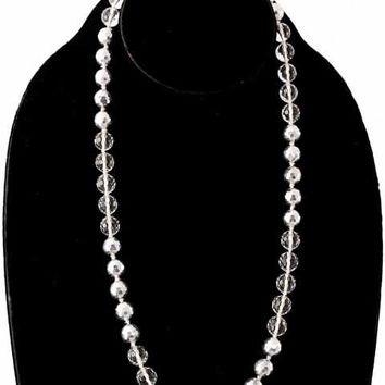 Vintage Estate Jewelry Necklace Rock Crystal/Silver Beads 1920S