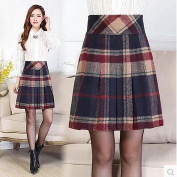 Women Autumn Winter Woolen Skirts Female Fashion Vintage Plaid A-Line Skirt Work Career OL Skirt Plus Size Casual Wool Skirts