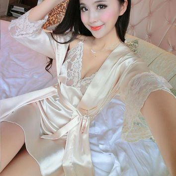 CREYCI7 2017 New Summer Women Long Sleeve Silk Sleepwear Nightgown Set Temptation Sexy Robe & Nightdress Two Piece Lady Cute Sleepshirts