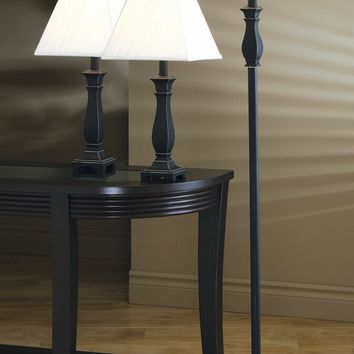A.M.B. Furniture & Design :: Accessories :: Floor Lamps :: 3 Pc. Traditional Black and Gold Finish With Ivory Pleated Fabric Square Shades Table and Floor Lamps