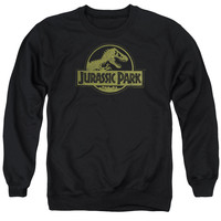 JURASSIC PARK/DISTRESSED LOGO - ADULT CREWNECK SWEATSHIRT - BLACK -