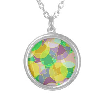 Stained glass geometric pattern round pendant necklace