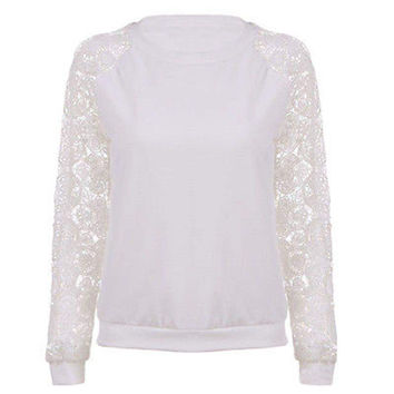 New Lace Hoodies Sweet Casual Sweatershirt  Women Long Sleeve Pullover Knitwear White Female