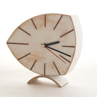 FREE SHIPPING - Desk Clock, White clock, Wood Clock,  Wooden Clock, Vintage 60s style, Unique Gift, Table clock