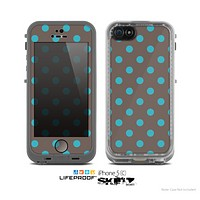 The Gray & Blue Polka Dot Skin for the Apple iPhone 5c LifeProof Case