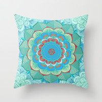 In Full Bloom - detailed floral doodle in blue, green & red Throw Pillow by micklyn