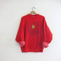 vintage red sweatshirt. Psychedelic Folk Funk Rock N Roll Poetry Festival / Strange Neighbors Tour