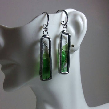 Stained Glass Jewelry, Rectangular Stained Glass Earrings, Unusual One Of A Kind Jewelry, Art Glass, Green & Black Confetti Glass