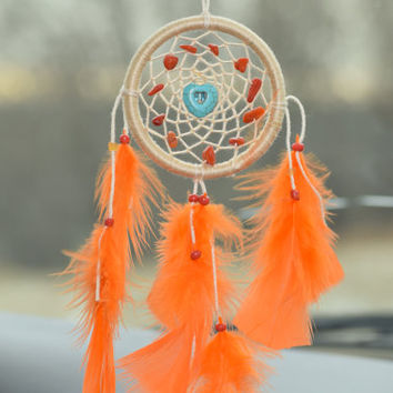 Orange Car Dream Catcher, Car Mirror Charm, Gift for Her, Car accessory, Mini dreamcatcher,Bohemian Decor.