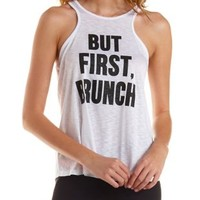 White Cross-Back Brunch Graphic Tank Top by Charlotte Russe