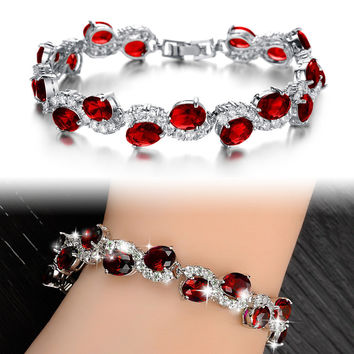 Elegant fashion White Gold Plated cz diamond red bracelet
