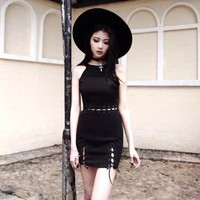 Gothic Girl Dress Halter Strapless Hollow Out Fake Two Black Women Dress Street Sexy Goth Dresses