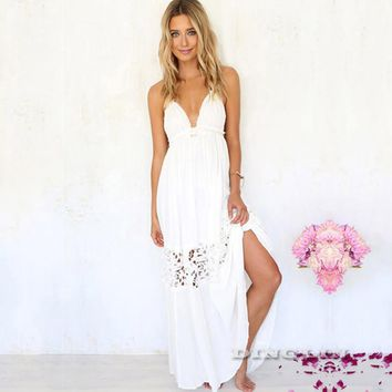 GZDL Women Summer Sexy Lace Crochet Halter Dress Hollow Out Deep V Beach White Elegant Backless Boho Dresses Vestidos CL2626