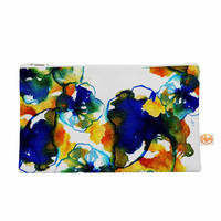 "Sonal Nathwani ""Blue Orange Floral"" Abstract Watercolor Everything Bag"