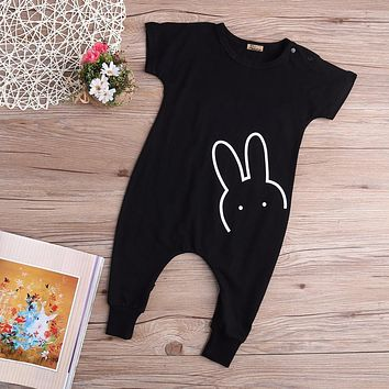 Hot Newborn Kids Babys Boys Girl Cotton Black Casual Short Sleeve Rabbit Romper Long Pants Jumpsuit