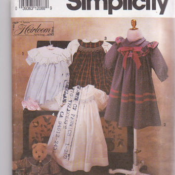 Pattern for girls Heirloom dresses by Oliver Goodin short or long sleeves with smocking, ruffles and lace size 5 6 6X Simplicity 7644 UNCUT