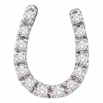 14kt White Gold Women's Round Diamond Horseshoe Pendant 1-10 Cttw - FREE Shipping (US/CAN)