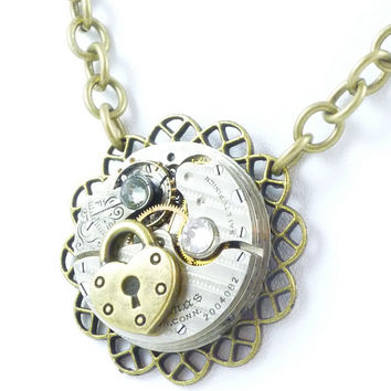SteamPunk Neo-VictorianNecklace with Seth Thomas Vintage Watch Movement on Pendant, Crystals and Heart shaped Lock by VictorianFolly