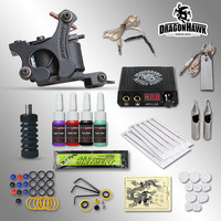 Complete Tattoo kits 8 wrap coils guns machine 1 6oz black tattoo ink sets power supply disposable needle free shipping