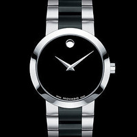 Movado Watch, Men's Swiss Verto Stainless Steel and Black PVD Bracelet 40mm 0606373 - All Watches - Jewelry & Watches - Macy's