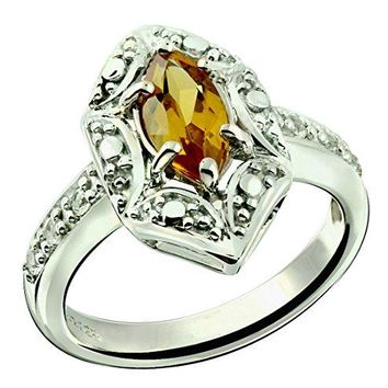 AUGUAU Sterling Silver 925 Ring GENUINE GEMSTONE Marquise Shape 0.70 Carat with Rhodium-Plated Finish