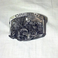 Oregon Buckle - Oregon Trail, Gold Rush, Pewter Belt Buckle - Men's Buckle