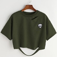 Army Green Alien Patch Ripped Tee