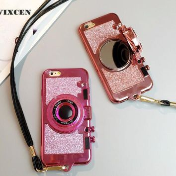 Wixcen Luxury 3D Retro Camera Phone Case for Iphone 6 6s 6Plus 7 7plus 8 X cute glitter soft tpu Case with Lanyard Back Cover