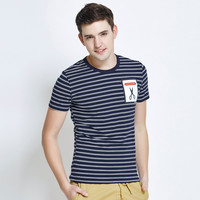 Men's Fashion Stripes With Pocket Print Short Sleeve Korean Slim Round-neck T-shirts [6543945155]