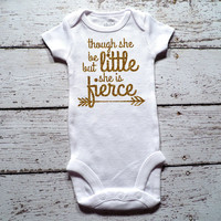 She Is Fierce Shirt Baby Shower Gift Bodysuit Baby Girl Clothes Baby Girl Shirt Hipster Baby Clothes Baby Gift White And Gold