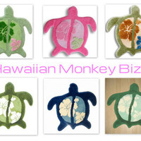 """TURTLE-SHAPED"" Hawaiian RUG/MAT ~ FOR 1! from Hawaiian Monkey Bizz"