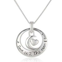 "Fashion Elegant ""I Love U 2 the moon and Back"" Circle With Heart Pendant Necklace Best Gift (Size: 46 cm, Color: Silver) [7954194567]"