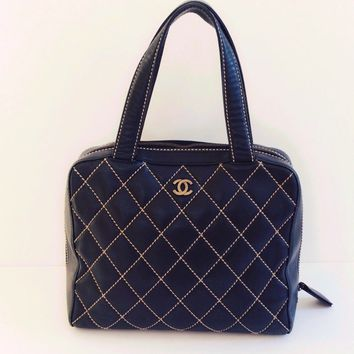 Rare Chanel Quilted Kelly Bag Tote Black Leather Authentic Handbag Purse